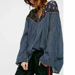 UO Free People Hearts & Colors Oversized Blouse